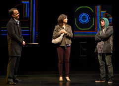 David Wilson Barnes, Amy Pietz and Noah Galvin in the Huntington Theatre Company's production of Stephen Belber's THE POWER OF DUFF.  October 11-November 9, 2013 at South End/Calderwood Pavilion at the BCA.  Photo T.Charles Erickson