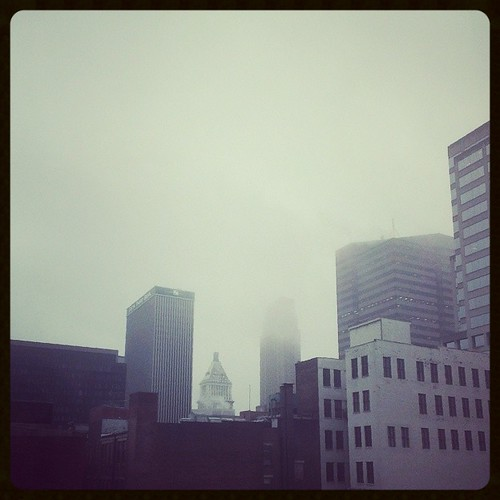 A rainy, grey morning in downtown Cincinnati...