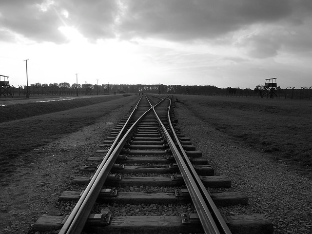 Train tracks at Auschwitz II-Birkenau