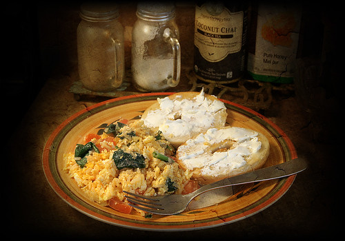 food cheese breakfast tomato cream plate fork bagel eggs spinach omelette