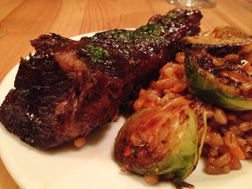 Red Door Wine Market - Braised Short Ribs with spelt berry pilaf, charred brussel sprout