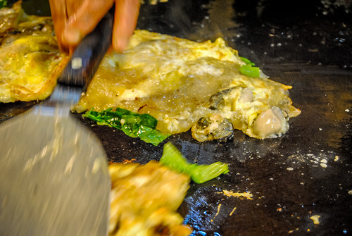 Oyster Omelets at a night market in Taiwan