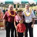 Keiki Kawai'ae'a, the director of the UH Hilo Ka Haka 'Ula O Ke'elikōlani College of Hawaiian Language with her grand daughter Hāweoʻulakaumaka Mākaʻimoku (center), UH Hilo Chancellor Donald Straney (left) and UH System Interim President David Lassner (right) at grand opening of the college's new home, Haleʻōlelo.