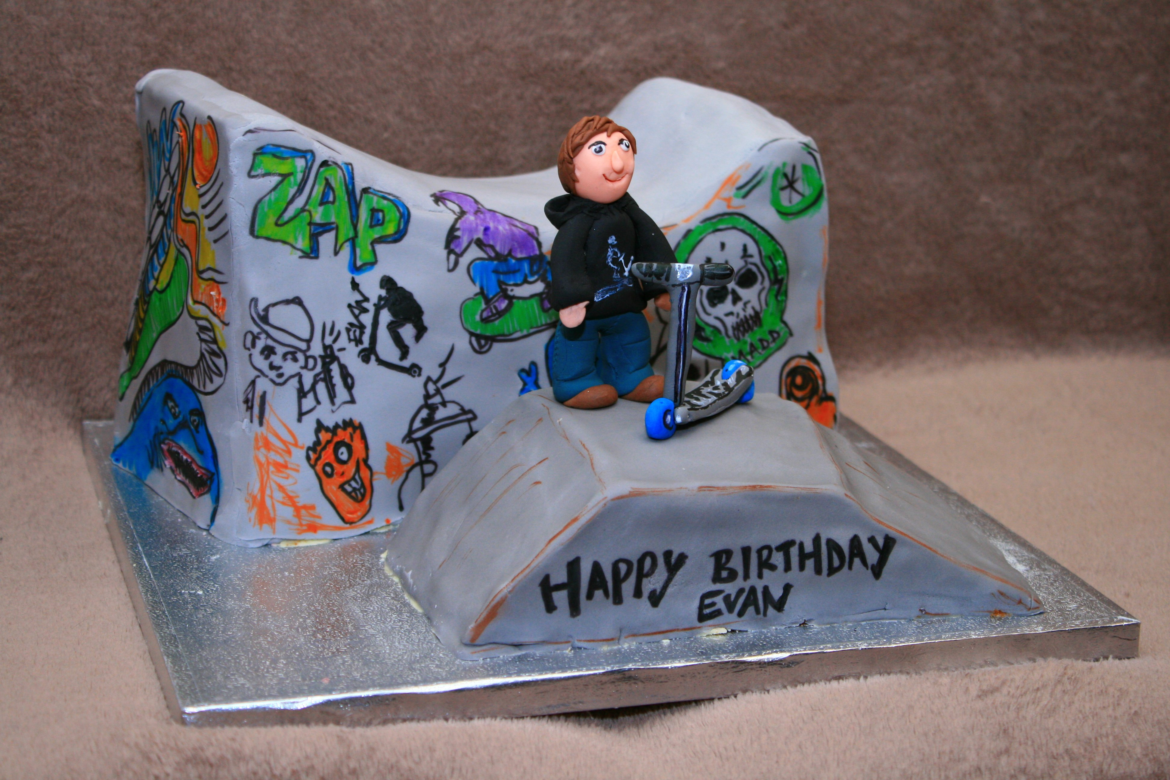 Scooter Cake With Happy Birthday Dawn On It