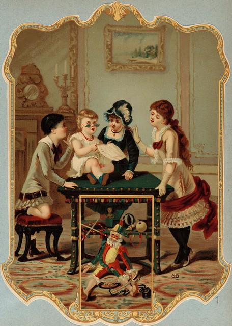 Almanach des Postes et des Télégraphes, registre de 1885 - Trois fillettes entourent un enfant qui fait mine de lire le journal