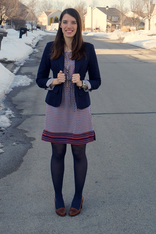 navy blazer and print dress