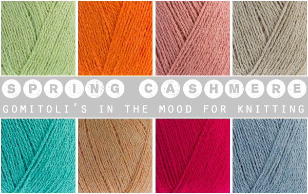 Selection of colours of Spring Cashmere yarn by Gomitoli's in the mood for knitting | reviewed by Emma Lamb