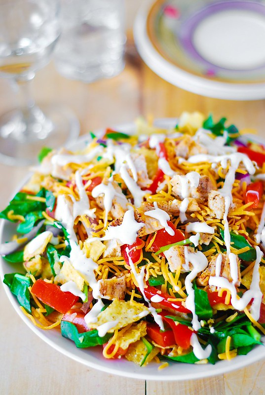 Chicken taco salad recipe, recipe for taco salad, cold taco salad, easy taco salad, easy chicken taco recipe, spinach salad