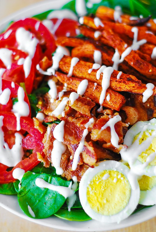Sweet potato fry and BLT salad, sweet potato fries baked, blt spinach salad, blt recipes