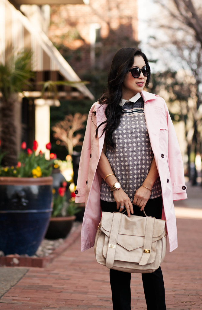 cute & little blog | petite fashion | tile print and pink trench outfit | spring layers