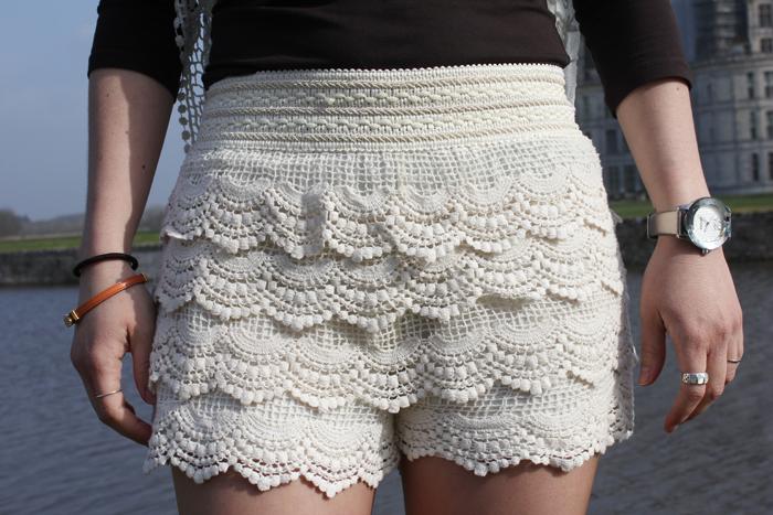 encaje, lacy shorts, shorts de encaje