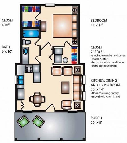 Plano de casa peque a de una habitacion arkigrafico for Planos de cocina y lavanderia