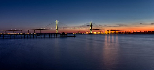 bridge unitedstates dusk mountpleasant southcarolina charleston bluehour hdr arthurraveneljrbridge