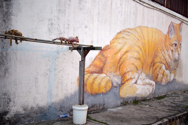 cat wall mural, Georgetown, Penang, Malaysia