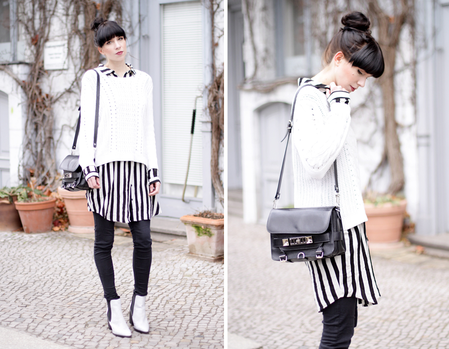 bun stripes black white outfit sacha schuhe boots proenza schouler numph minimal cute styling fashionblogger berlin hannover ricarda schernus blog cats & dogs wie hund und katze 1