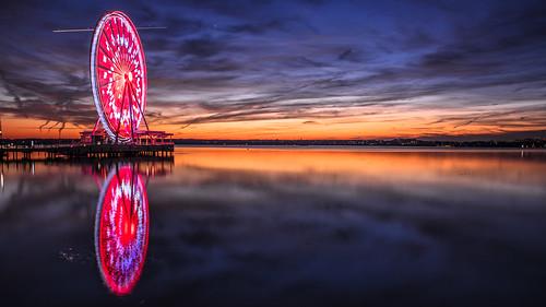 sunset reflection wheel river golden washingtondc sunsets bluehour nationalharbor nikon24120mmf4 capitalwheel nikond750
