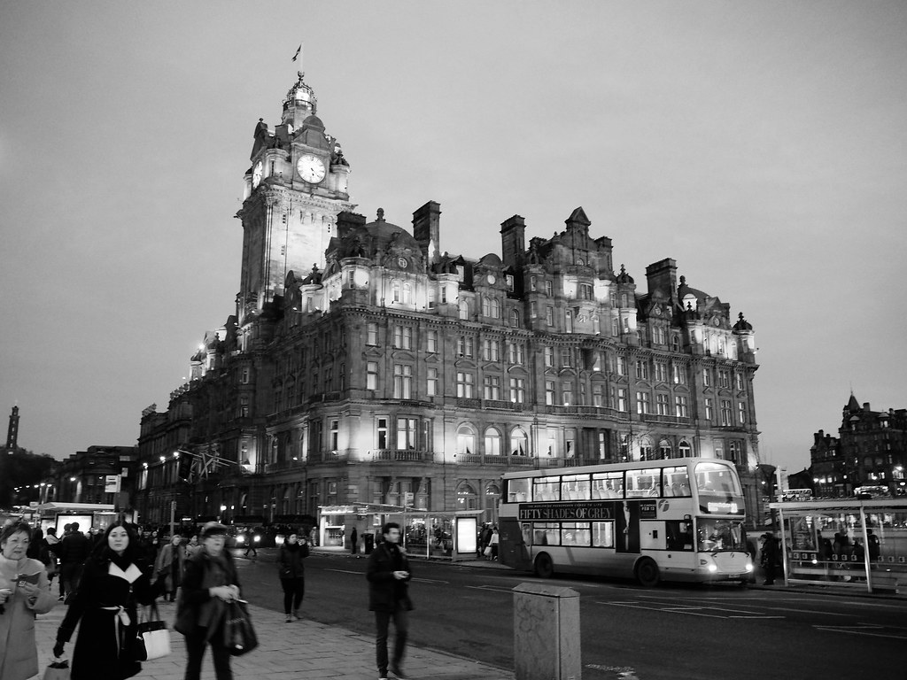 Edinburgh Balmoral at sunset black and white