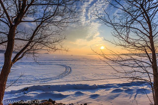 Sunset Over a Frozen Saratoga Lake