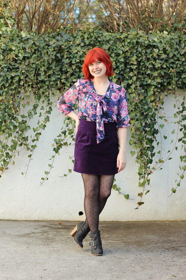 Purple Velvet Forever 21 Mini Skirt, Floral Target Bow Blouse, and Polka Dot Tights