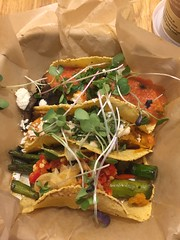 Vegetarian tacos at Chaia - from the top mushroom and red pepper, sweet potato, and asparagus