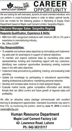 MapLeaf Cement Regional Manager Sales Required