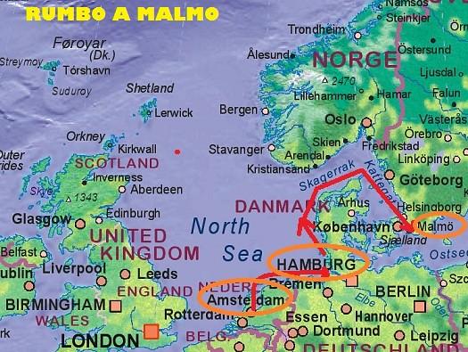Mapa Rumbo a Malmo