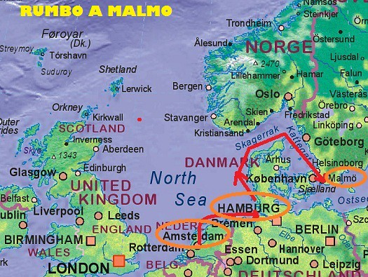 Mapa crucero a Malmo
