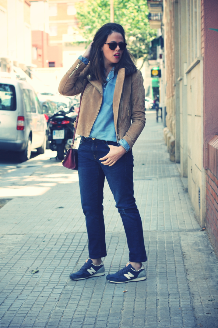 Look denim + denim + New Balance - Monicositas