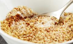 meal(0.0), coconut(0.0), produce(0.0), dessert(0.0), breakfast(1.0), apple crisp(1.0), food(1.0), dish(1.0), cereal(1.0), cuisine(1.0), crumble(1.0),