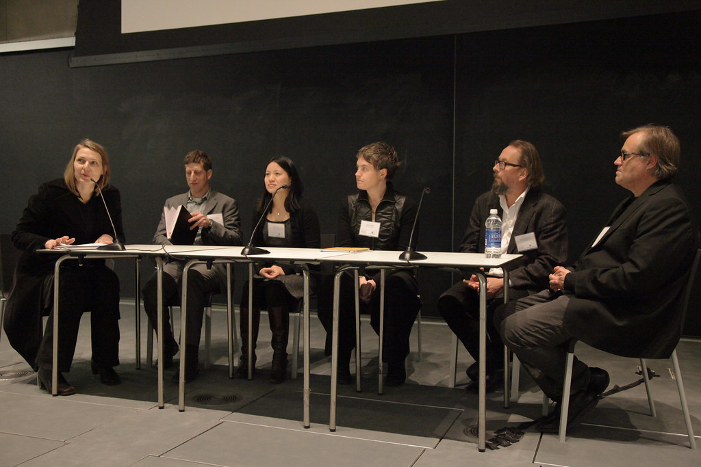 The panel discussion following the third session. From left to right: moderator Dana Cupkova, Alexander Felson, Shu Yang, Jenny Sabin, Soren Sorensen, and Birgir Sevaldson.