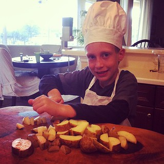 Choppin taters #kidsinthekitchen #chickensoup #homeschool
