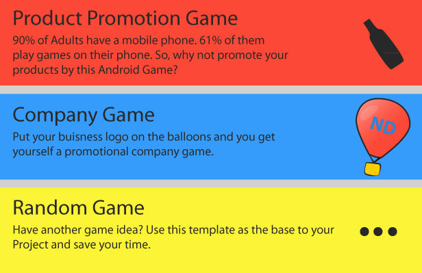Product Promotion Game Adults have mobile phone. them play games their phone. So, why not promote your products this Android Company Game Put your buisness logo the balloons and you get yourself promotional company game. Random Game Have another game Use this template the base your Project and save your time.