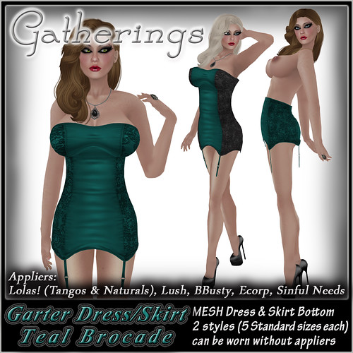 GD Mesh Garter Dress and Skirt Teal Brocade by Stacia Zabaleta