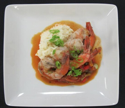 Shrimp with Veracruz Sauce, Cream Rice, Pepper Medley