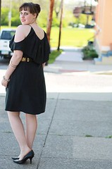 LBD Outfit: Sik suede back capelet dress from Anrthropologie, seamed stockings, black pointy heels, vintage Moschino letter belt, gold arrow necklace, pavé cable link bracelet, snake arm band