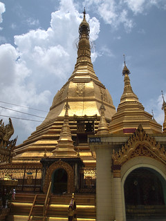 Image of  Sule Pagoda  near  Shwedagon Pagoda. travel architecture pagoda asia southeastasia buddha yangon burma religion buddhism myanmar spirituality spiritual burmese rangoon sule sulepagoda