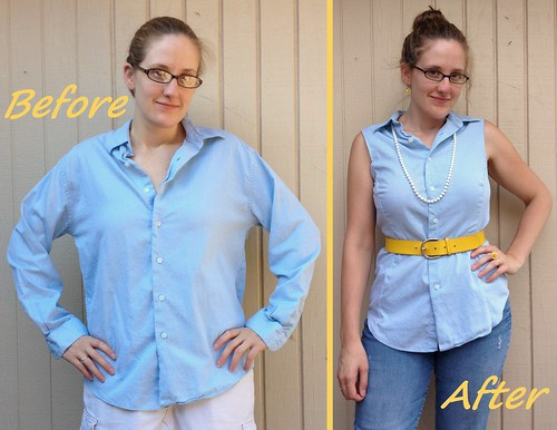 Blue Button-Down Blouse Before & After