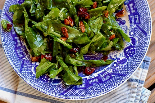 Lemony arugula salad with candied pecans & dried cherries by Eve Fox, the Garden of Eating blog, copyright 2013