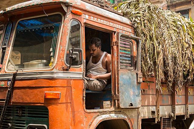 A trucker waiting at Mechua market in Kolkata, India.