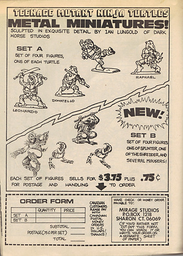 "The Original ""FUGITOID #1"" vi // TMNT METAL MINATURES ad & order form (( 1985 ))"