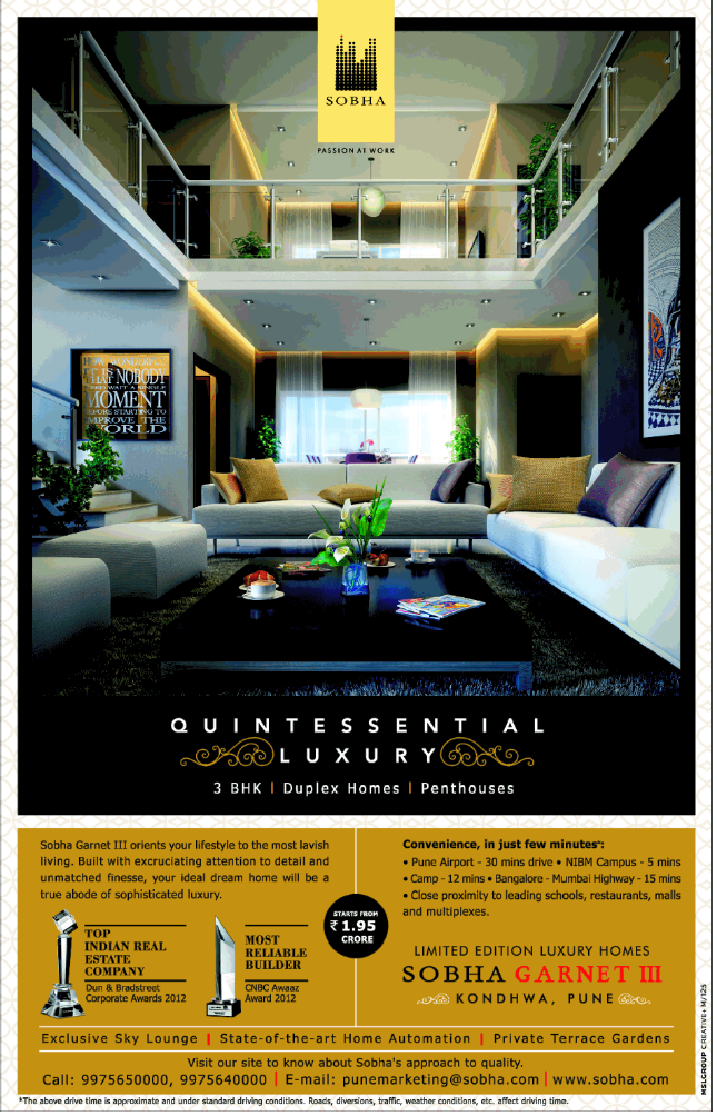 Sobha Garnet III Rs. 1.95 Crore Onward 3 BHK Flats Duplex Penthouses at Kondhwa Pune (4-10-2013)