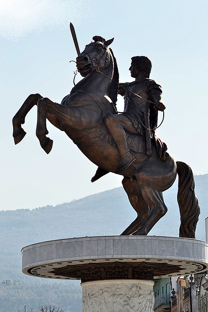 Warrior on a horse, profile of the warrior, part of Skopje 2014 (March 2012)