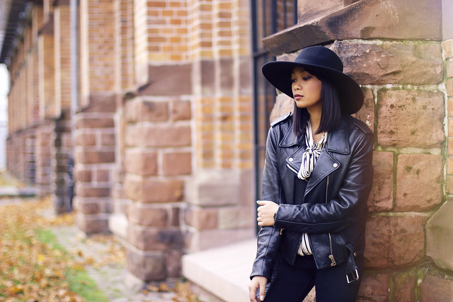 acne mape leather jacket- new yorker blouse- h&m saint laurent new icons hat