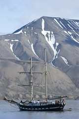 Sailboat in the harbor of Longyearbyen