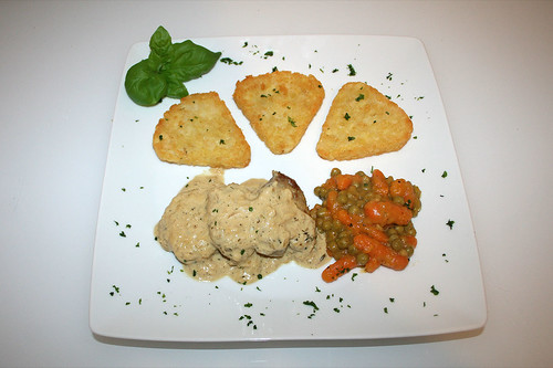 46 - Schweinefilet in Senf-Sahnesauce - Serviert / Pork filet in mustard cream sauce - Served