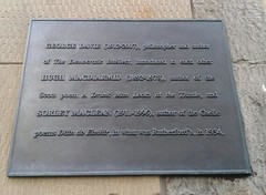 Photo of Hugh MacDiarmid, Sorley MacLean, and George Davie black plaque
