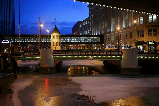 Wisconsin Avenue Bridge Winter Twilight