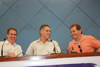 O prefeito Jonas Donizette e os deputados federais Guilherme Campos e Paulinho da Força