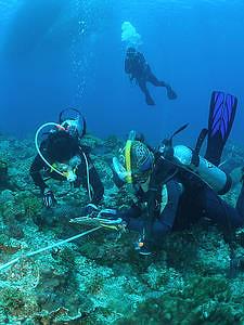 科學指導員跟隨著參與珊瑚礁總體檢的志工們,隨時提供適當的協助;照片提供:中研院生物多樣性研究中心珊瑚礁演化生態與遺傳研究室