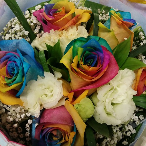 Multi-colored roses for vday 2014
